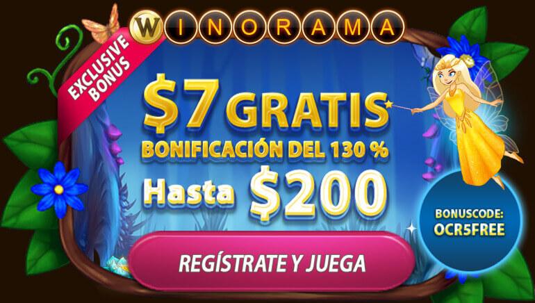 Consigue 7 € gratis y un 130 % más hasta 200 € en Winorama Casino